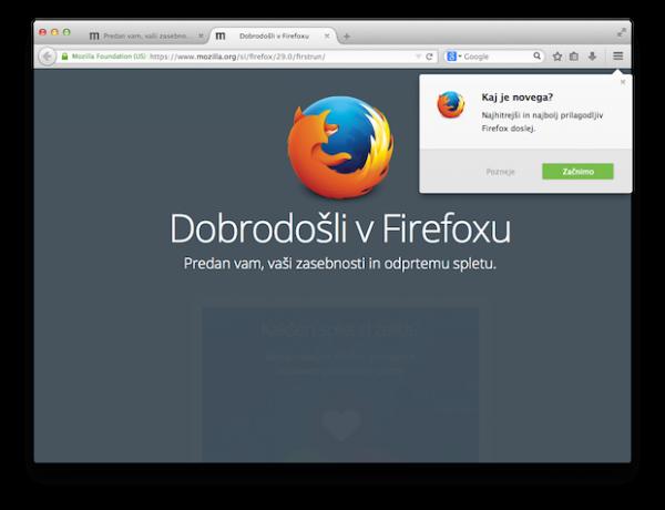 Dobrodošli v Firefoxu