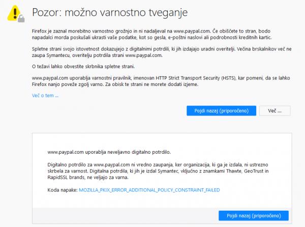 Pozor: možno varnostno tveganje — Digitalna potrdila, ki jih je izdal Symantec, vključno z znamkami Thawte, GeoTrust in RapidSSL, ne veljajo za varna. — Koda napake: MOZILLA_PKIX_ERROR_ADDITIONAL_POLICY_CONSTRAINT_FAILED